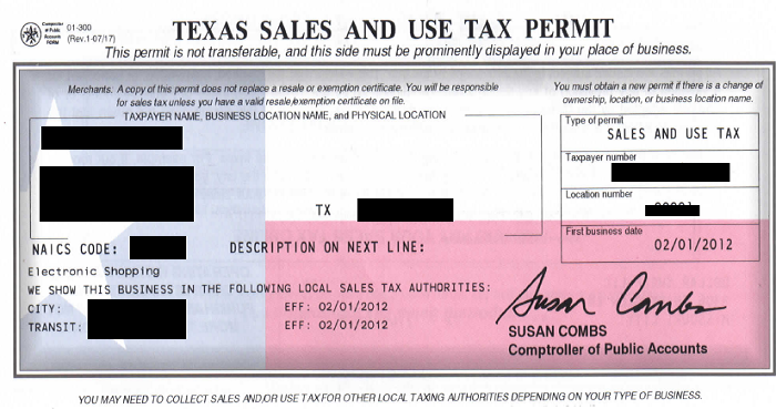 Sales & Use Tax Permit