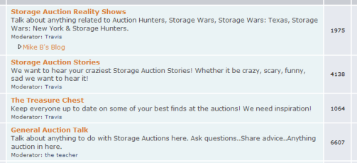 Storage Auction Forums